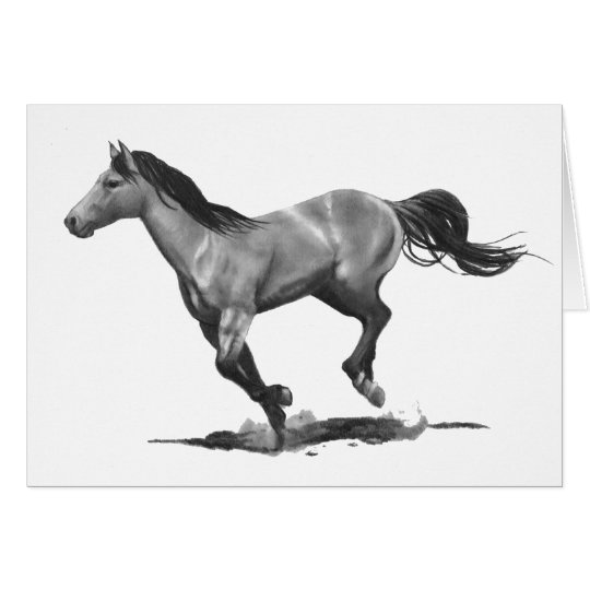 Horse: Running, Galloping: Pencil Drawing Card