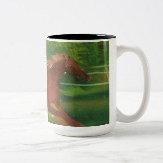 Horse Running Two-Tone Coffee Mug