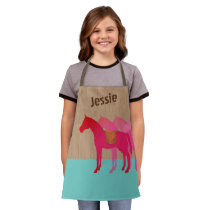 Horse saddle girls cooking crafts personalized apron