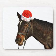 Horse santa - christmas horse - merry christmas mouse pad