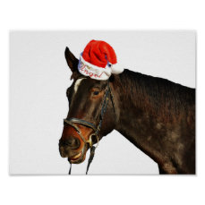 Horse santa - christmas horse - merry christmas poster