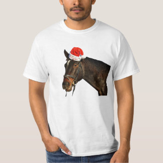 Horse santa - christmas horse - merry christmas T-Shirt