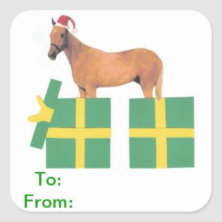 Horse Santa Hat Gift Tags Sticker