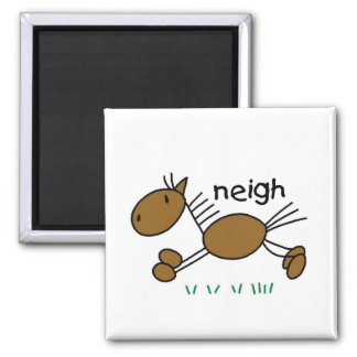 Horse Says Neigh Tshirts and Gifts 2 Inch Square Magnet