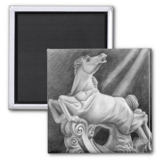 Horse Sculpture 2 Inch Square Magnet