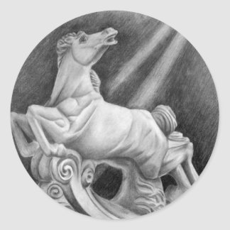 Horse Sculpture Classic Round Sticker