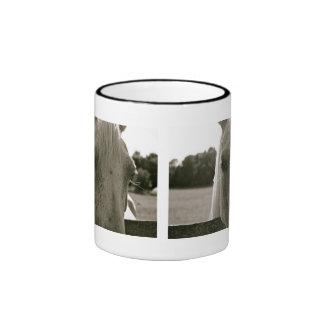 Horse Series Coffee Mug:  White Horse II Ringer Coffee Mug