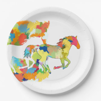 Horse Shape Galloping out of Colorful Splash Paper Plate