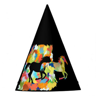 Horse Shape Galloping out of Colorful Splash Party Hat