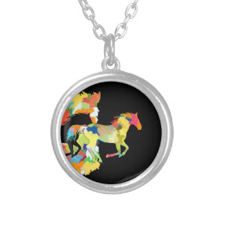 Horse Shape Galloping out of Colorful Splash Silver Plated Necklace