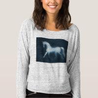 Horse Shilhouette Gray Off The Shoulder Sweatshirt