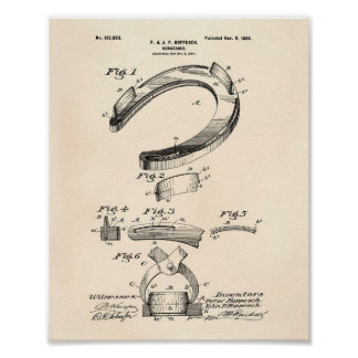 Horse Shoe 1898 Patent Art Old Peper Poster