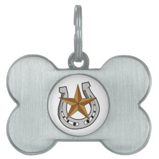 HORSE SHOE AND STAR PET NAME TAG