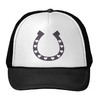 horse shoe hearts cowgirl cowboy trucker hat