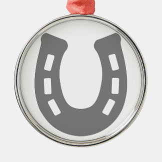 Horse shoe. Silver-Colored round decoration
