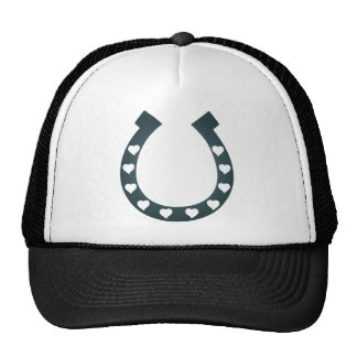 horse shoes hearts cowgirl cowboy trucker hat