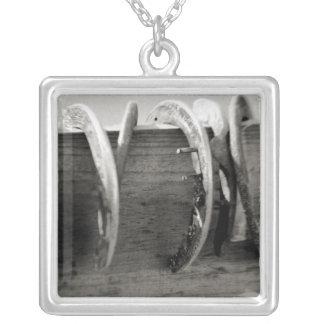 Horse Shoes Square Pendant Necklace