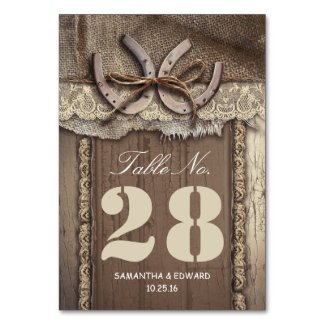 Horse shoes western wedding table number cards