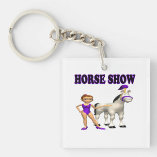 Horse Show 2 Double-Sided Square Acrylic Keychain