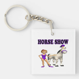 Horse Show 2 Single-Sided Square Acrylic Keychain