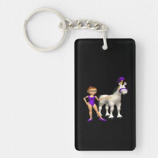 Horse Show Double-Sided Rectangular Acrylic Keychain