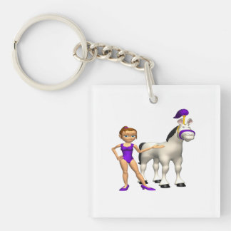 Horse Show Double-Sided Square Acrylic Keychain