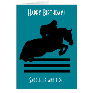Horse Show Hunter Jumper Silhouette Birthday Card