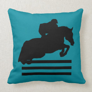 Horse Show Hunter Jumper Silhouette Throw Pillow