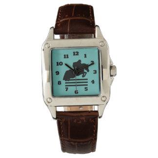 Horse Show Hunter Jumper Silhouette Wrist Watch