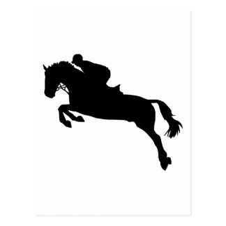 Horse show jumping postcard