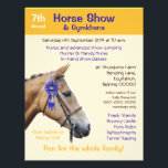 """Horse show or gymkhana event flyer<br><div class=""""desc"""">A flyer in orange and blue with a cutout horse&#39;s head overlaid with a blue first prize rosette. Suitable for most types of equestrian events, but particularly horse shows, gymkhanas and pony club or 4-H games. The text is in black, blue and orange with an orange background but can be...</div>"""