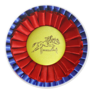 Horse Show Ribbon Ceramic Knob