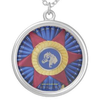 Horse Show Rosette -- Tricolor Round Pendant Necklace