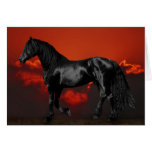 Horse silhouette at sunset greeting card