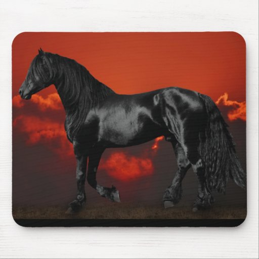 Horse silhouette at sunset mouse pad