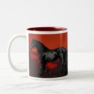 Horse silhouette at sunset Two-Tone coffee mug