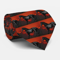 Horse silhouette at sunset neck tie