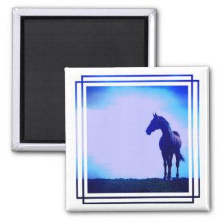 Horse Silhouette Design Square Magnet