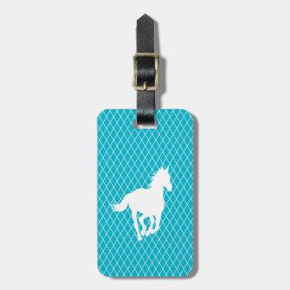 Horse Silhouette Diamond Pattern Custom Bag Tag