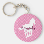 Horse Silhouette Diamond Pattern Custom Basic Round Button Keychain