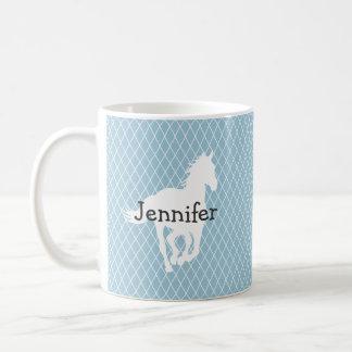 Horse Silhouette Diamond Pattern Custom Coffee Mug