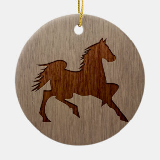 Horse silhouette engraved on wood design ceramic ornament