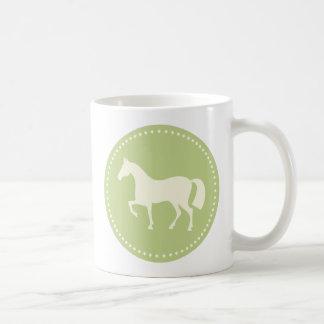 Horse silhouette equestrian coffee/tea mug (green)