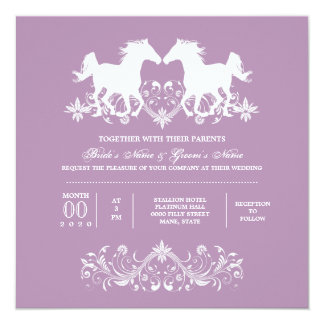Horse silhouette floral scroll card