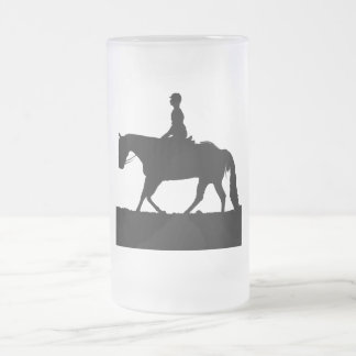 Horse Silhouette Frosted Glass Beer Mug