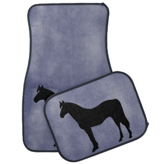 Horse Silhouette Icon Blue Floor Mats