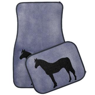 Horse Silhouette Icon Blue Floor Mats Car Mat