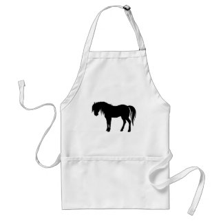 Horse Silhouette in Black Adult Apron