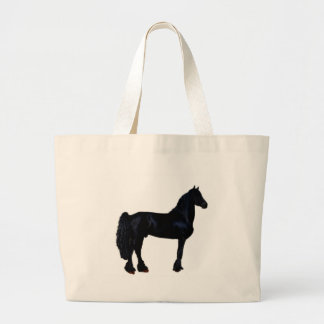 Horse silhouette in black and white jumbo tote bag