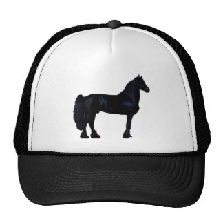Horse silhouette in black and white mesh hat